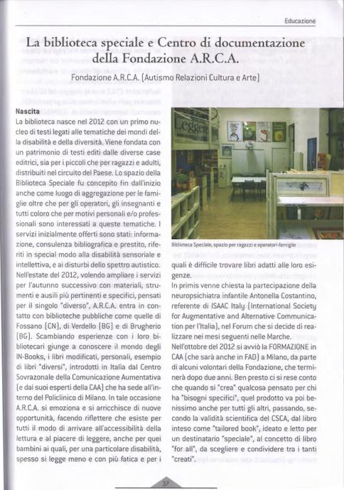 La Biblioteca Speciale e il Centro di Documentazione della Fondazione A.R.C.A.